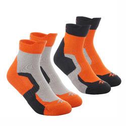 2 pares de calcetines senderismo en montaña media caña júnior Crossocks Naranja