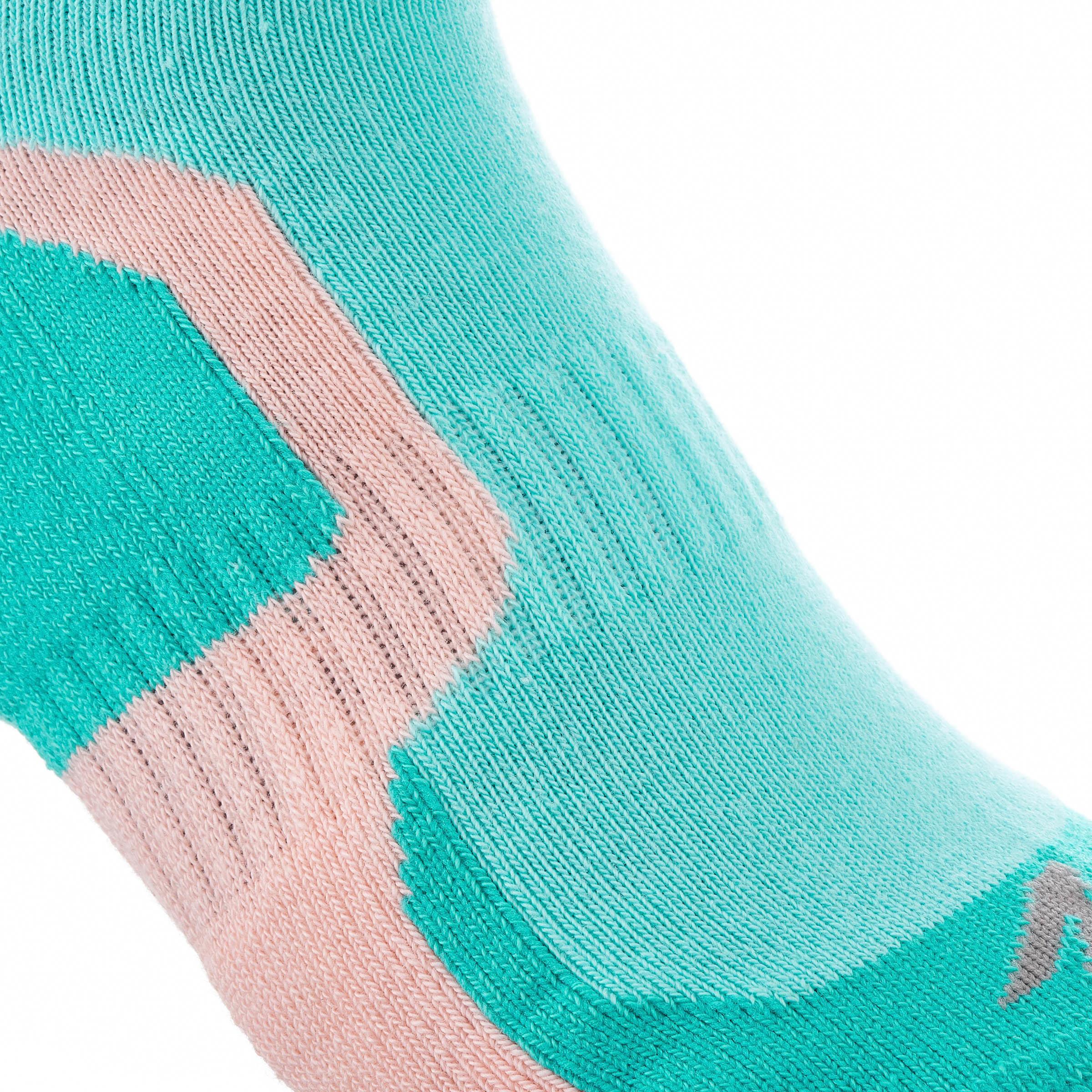 2 paires de chaussettes de rando tige moyenne enfant crossocks Turquoise