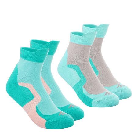 Kids Mid-Length Mountain Walking Socks 2 Pairs Crossocks - Turquoise
