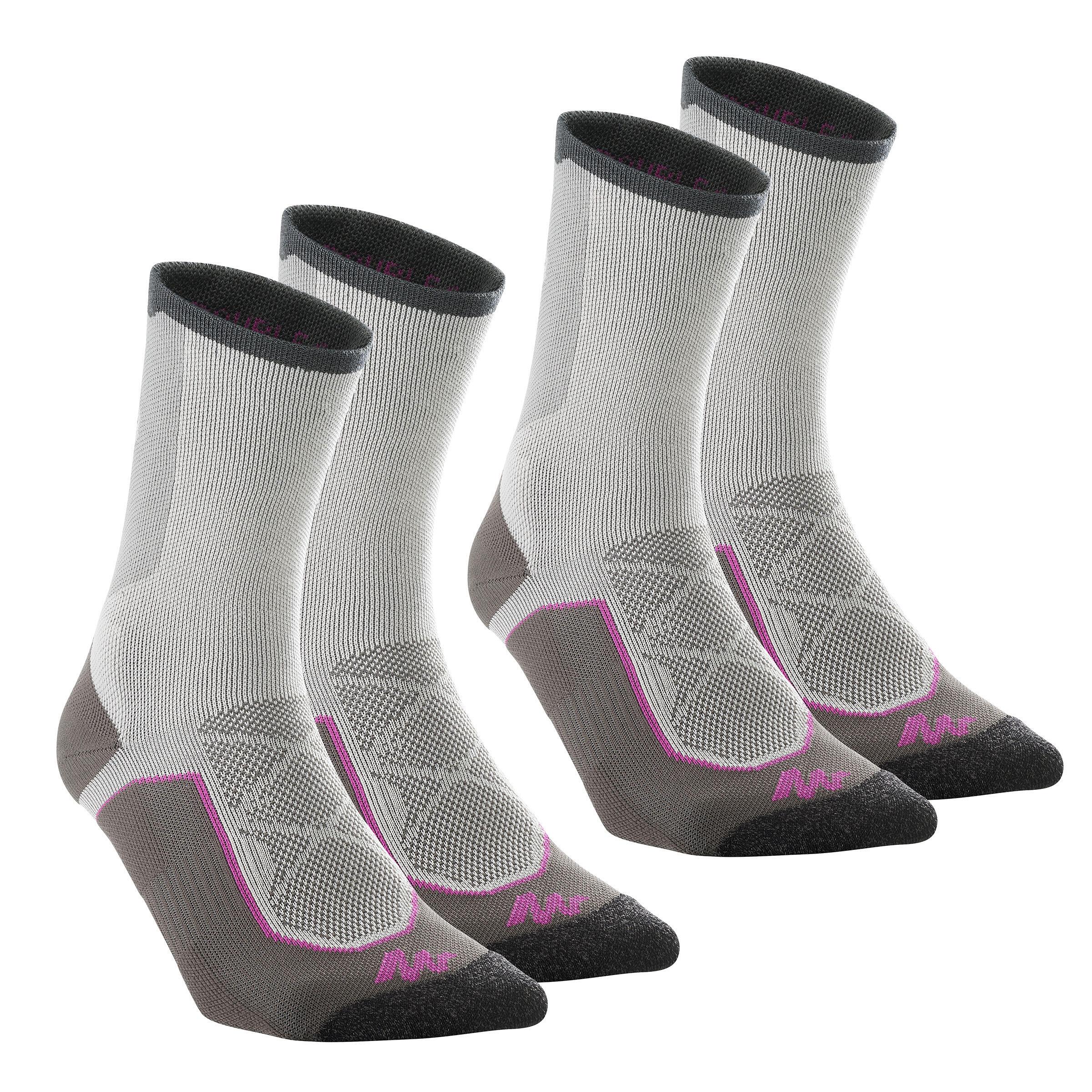 Wandersocken Forclaz 520 D High hoch 2 Paar grau/violett | Sportbekleidung > Funktionswäsche > Wandersocken | Violett - Grau | Ab | Quechua