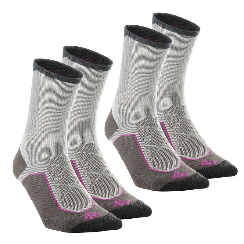 HIKING SOCKS Hiking - MH 520 HIGH X2 PAIRS QUECHUA - Outdoor Shoe Accessories