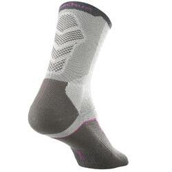 高筒登山健行襪。高筒襪MH 520 (兩雙入)-灰色/紫色
