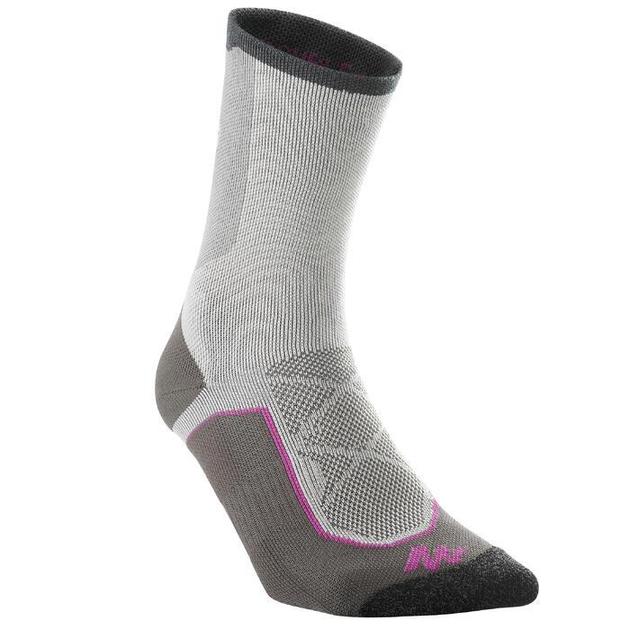 High-top mountain walking socks. MH 520 2 pairs - Grey/Purple