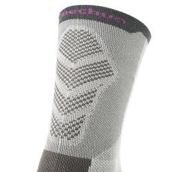 Chaussettes de randonnée montagne tiges high. 2 paires MH 520 gris violet