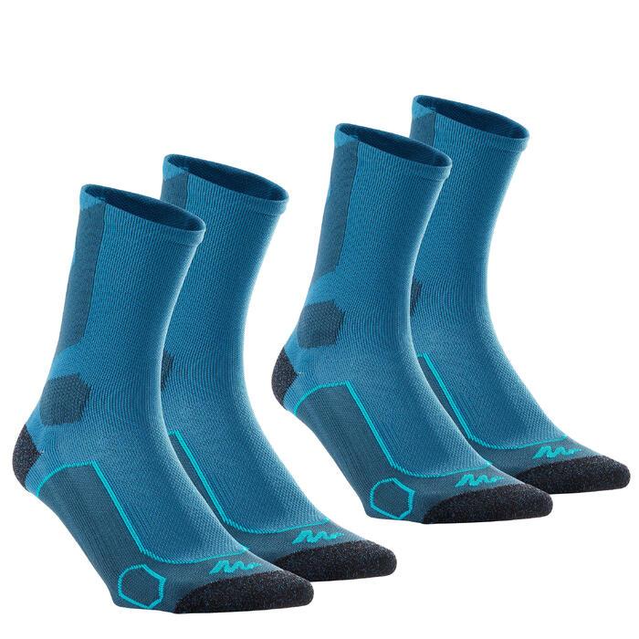 Calcetines largos de senderismo montaña. 2 pares MH 500 azul gris