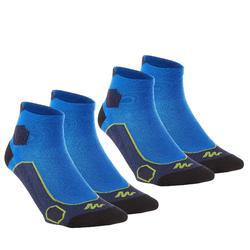 Calcetines de senderismo en montaña media caña. 2 pares Forclaz 500 azul verde