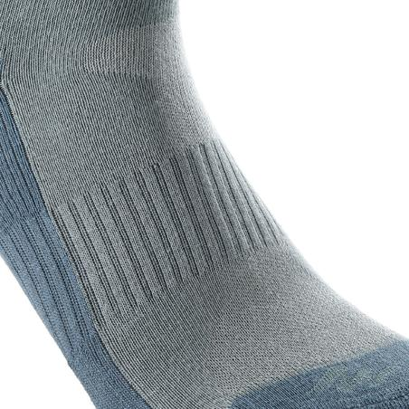 Arpenaz 50 adult high top hiking socks 2 pairs - grey.