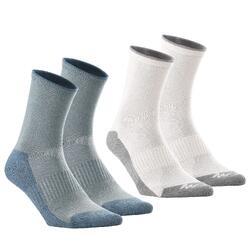 2 paires de chaussettes de randonnée tiges hautes enfant MH100 grises