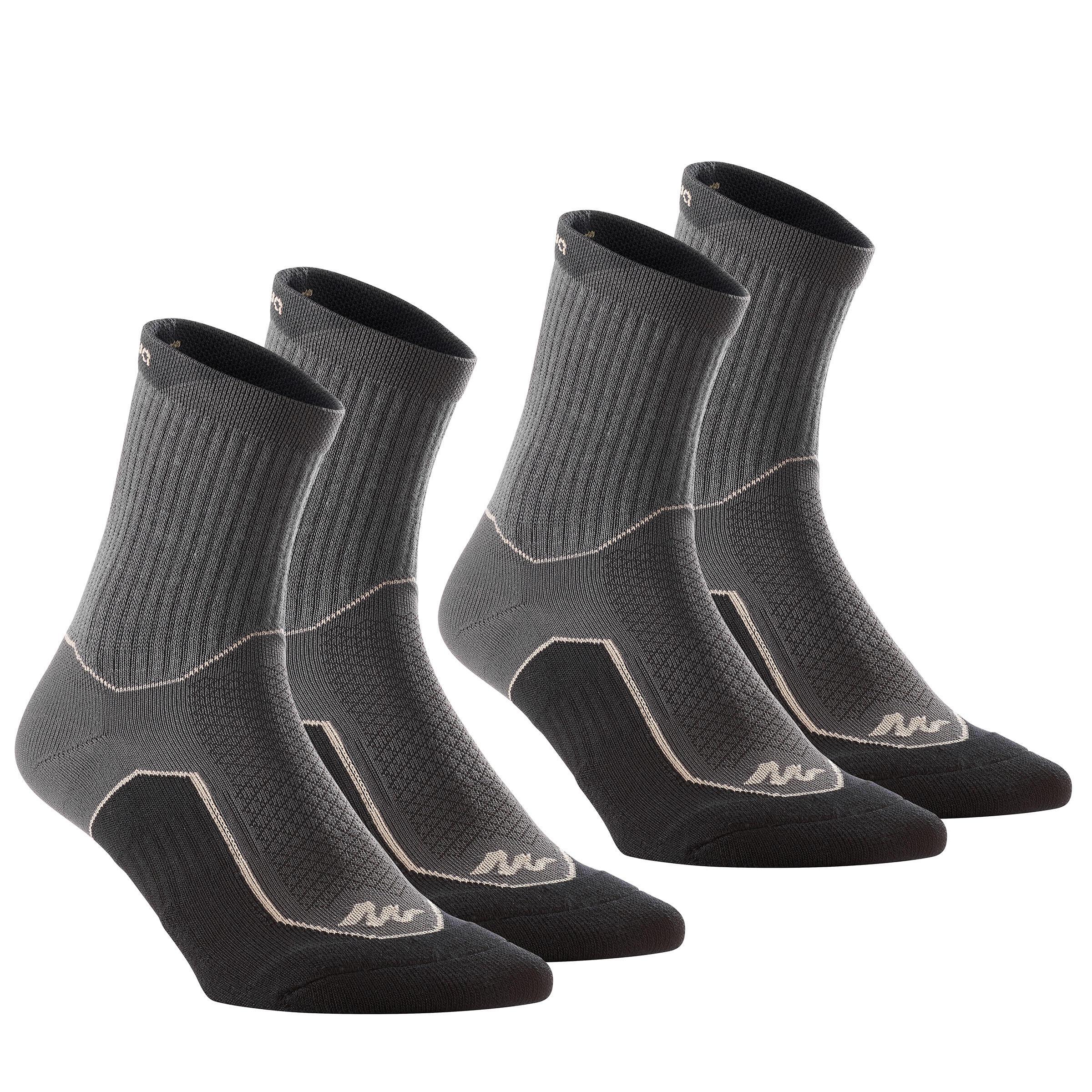 Chaussettes de randonnée Nature tiges haute. 2 paires Arpenaz 100 noir