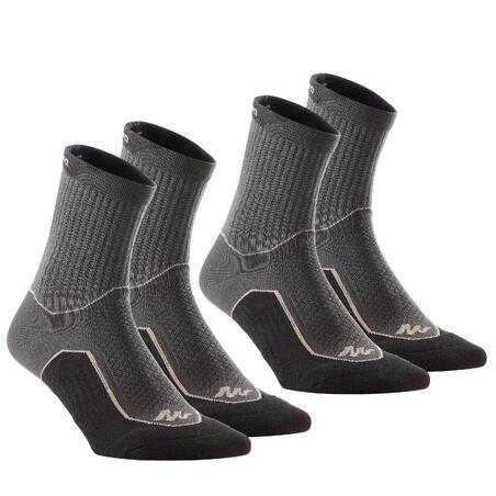 Country walking socks - NH500 High - X2 pairs - black