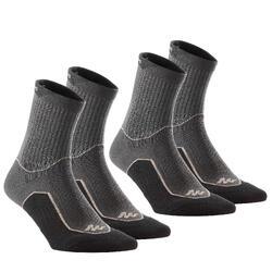 2雙郊野健行高筒襪NH500-黑色