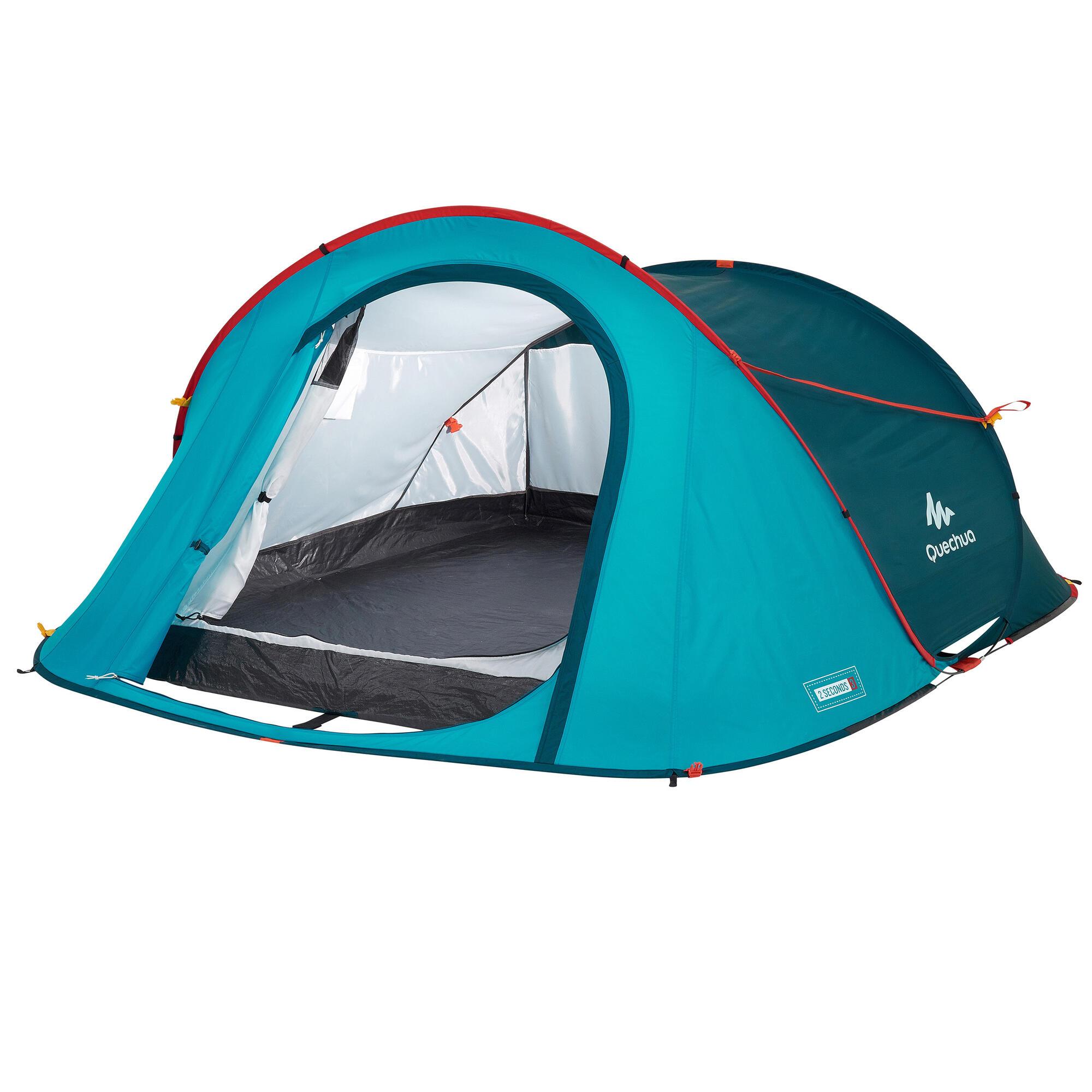 tente de camping 2 seconds 3 personnes bleue quechua. Black Bedroom Furniture Sets. Home Design Ideas