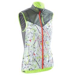 Chaleco cortaviento trail running gris grafismo mujer