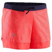 Otroške kratke hlače za atletiko Run Dry fluorescentno koralne
