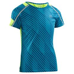 Kiprun children's athletics t-shirt blue fluo yellow