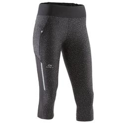 Mallas Piratas Leggings Deportivos Running Kalenji Run Dry+ Reflect Mujer Negro