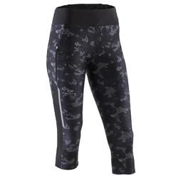 RUN DRY + WOMEN'S RUNNING CROPPED BOTTOMS - CAMO/BLACK
