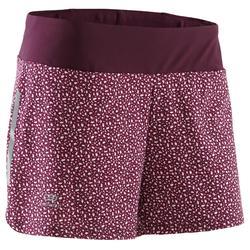 女款跑步運動短褲RUN DRY-藍色/珊瑚紅印花