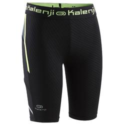 Kiprun Children's Athletics Tight Shorts - Black Neon Yellow