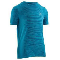 Hardloopshirt Kiprun Care atletiek voor kinderen, zeeblauw