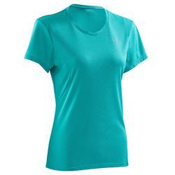 Camiseta Manga Corta Running Kalenji Mujer Verde Turquesa