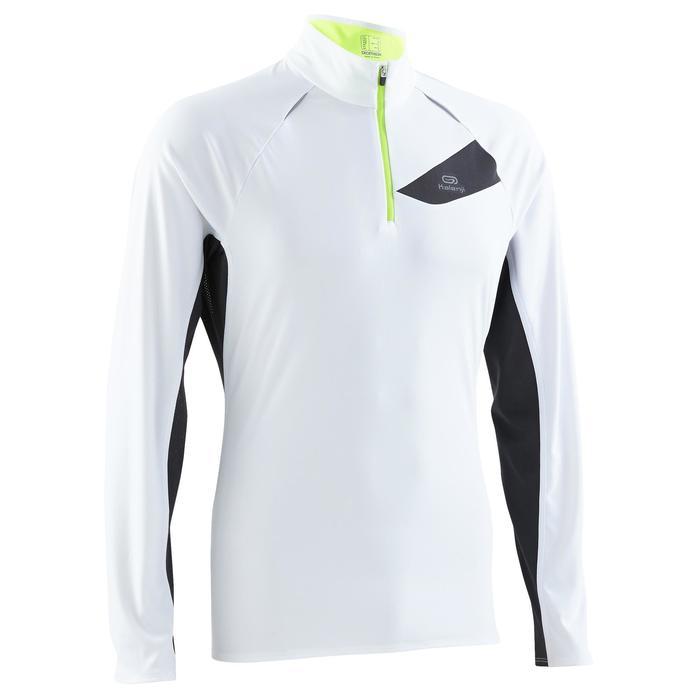 Tee shirt manches longues trail running blanc jaune homme