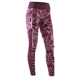 RUN DRY+ WOMEN'S RUNNING TIGHTS - CAMO/BURGUNDY