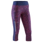 Modre in koralne ženske tričetrtinske legice RUN DRY+