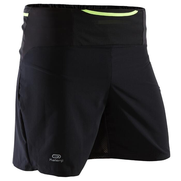 Baggy Short voor trail heren zwart/geel