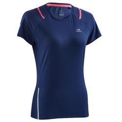 T-shirt korte mouwen jogging dames Run Dry+ marineblauw