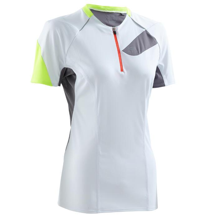 Tee shirt manches courtes trail running blanc gris femme - 1260023