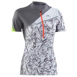 T-shirt korte mouwen Trail Running grijs met print dames
