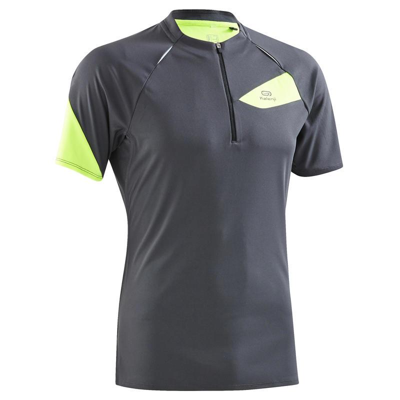 Men's Short-Sleeved Trail Running T-shirt - Grey/Yellow