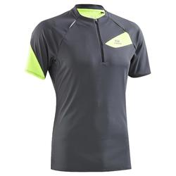 Camiseta manga corta trail running kalenji ts mc trail hombre gris amarillo
