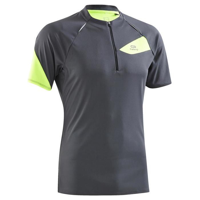 Tee shirt manches courtes trail running gris jaune homme - 1260038