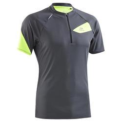 T-Shirt manches courtes course sur sentier gris jaune homme
