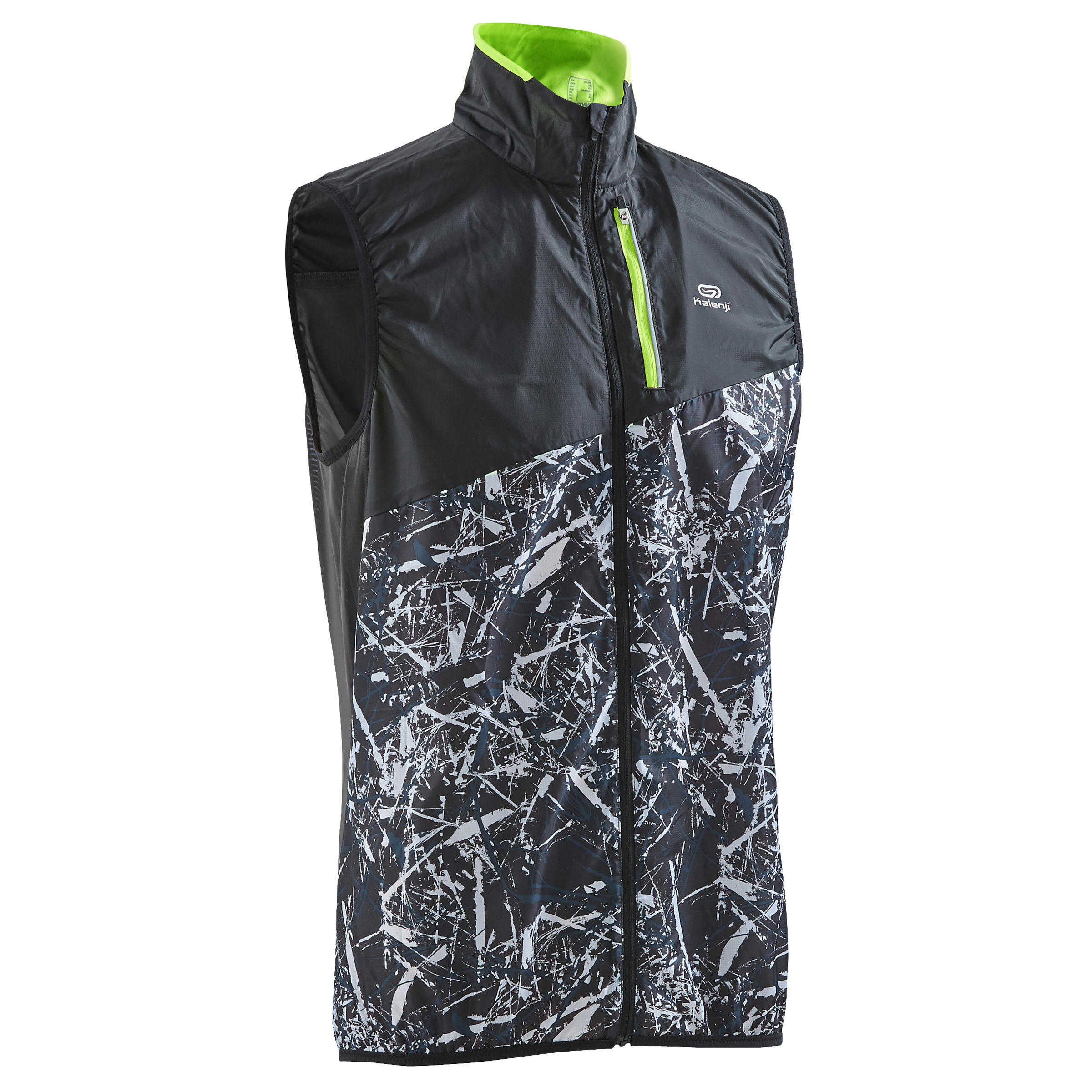 Chaleco rompevientos trail negro grafismo hombre