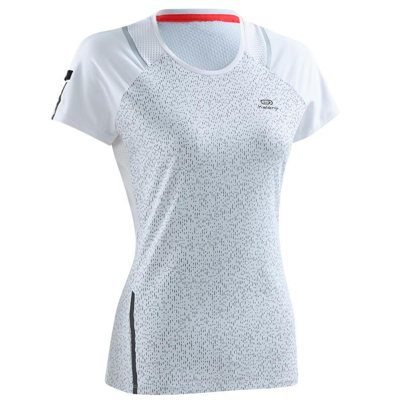 T-shirt running donna RUN DRY+ bianca stampa riflettente