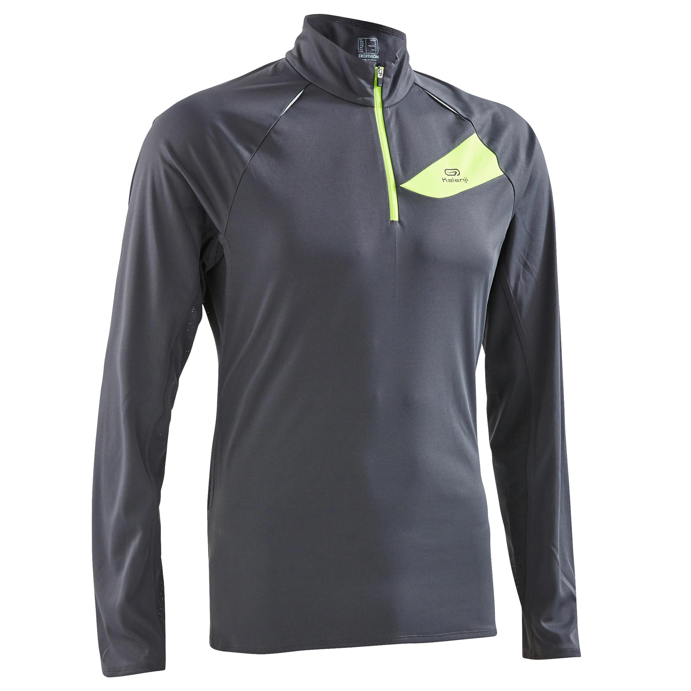 Men's Trail Running Long-Sleeved T-Shirt - Dark Grey Yellow
