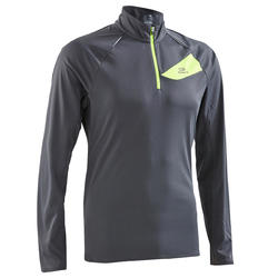 Men's Trail Running Long-Sleeved T-Shirt - Dark Grey Yellow