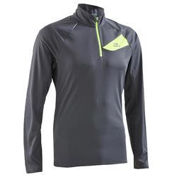 Shirt met lange mouwen voor traillopen, heren, donkergrijs/geel