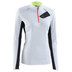 Tee shirt manches longues trail running blanc jaune femme