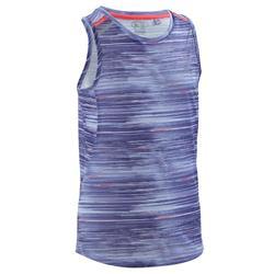 Camiseta sin mangas de atletismo para niños Dry+ estampado índigo