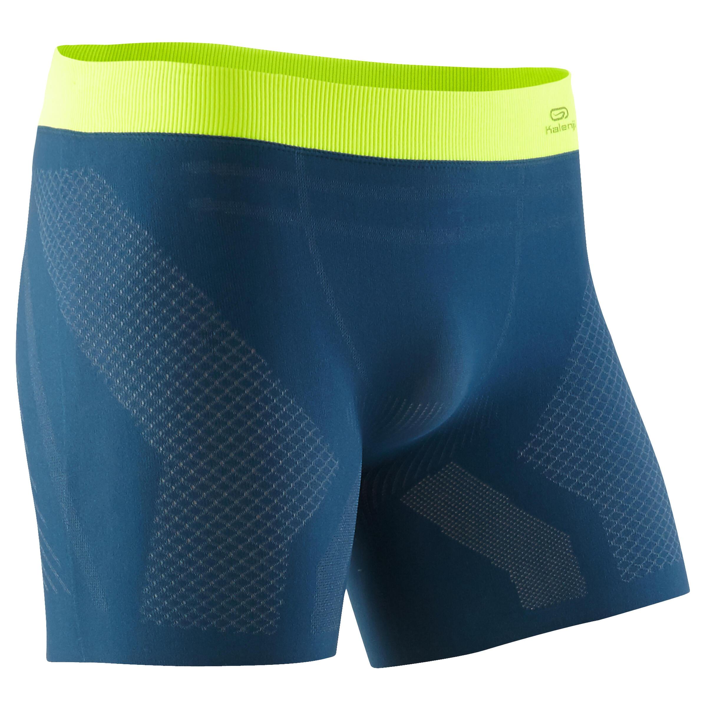 Funktionsunterhose Lauf-Boxershorts Herren blau | Sportbekleidung > Funktionswäsche > Thermoleggings | Blau - Gelb | Kalenji