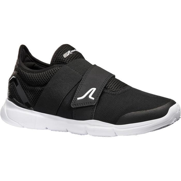 Damessneakers voor sportief wandelen Soft 180 strap zwart / wit