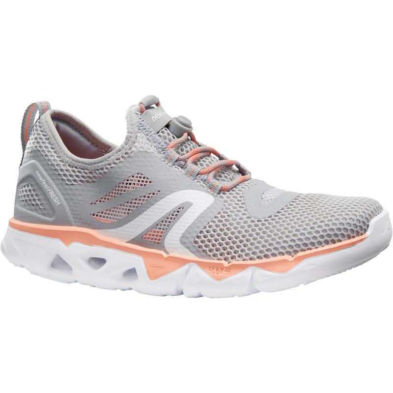 รองเท้าผู้หญิงสำหรับใส่เดินเพื่อสุขภาพรุ่น PW 500 Fresh (สีเทา/ส้ม Coral)