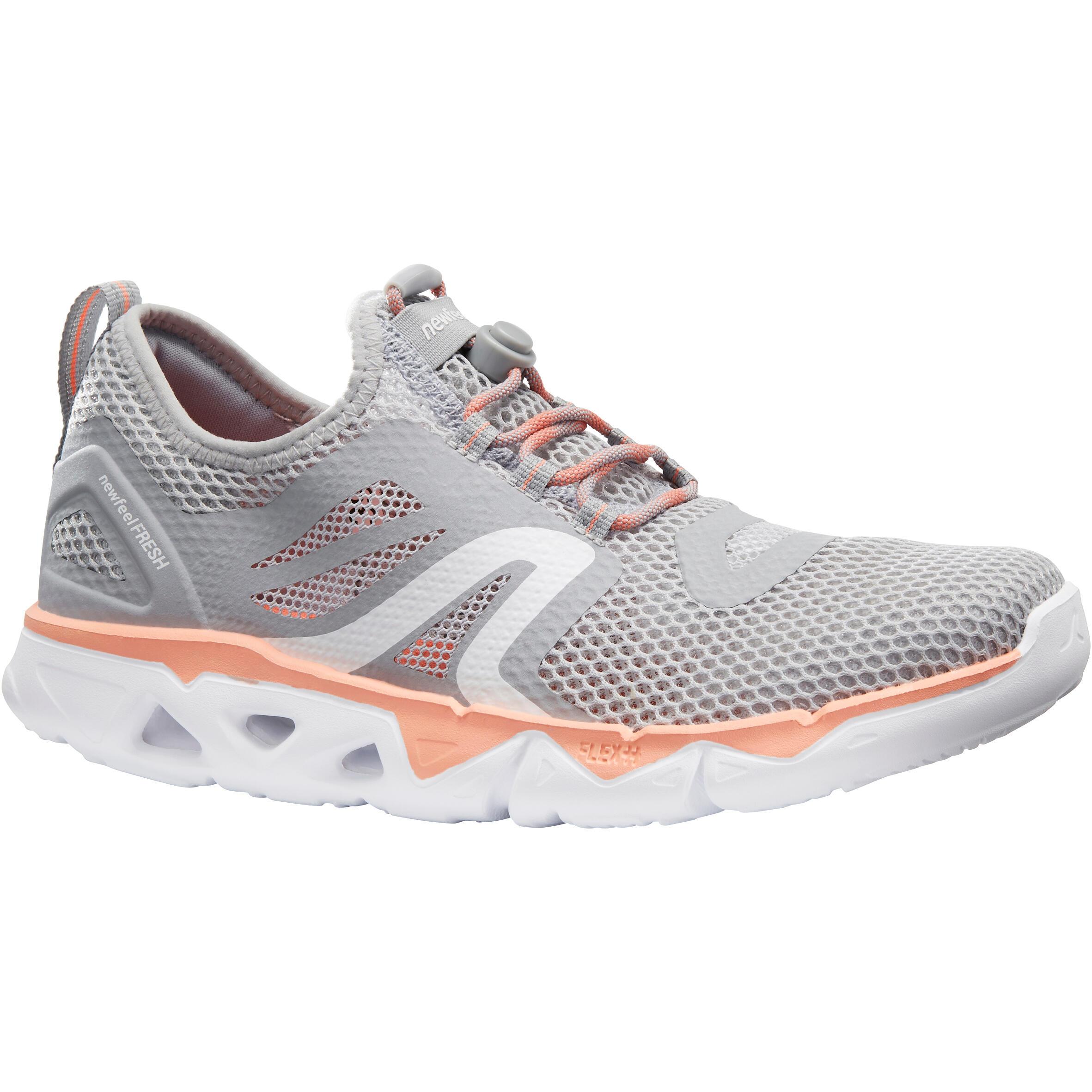 Tenis de caminata deportiva para mujer PW 500 Fresh gris / coral