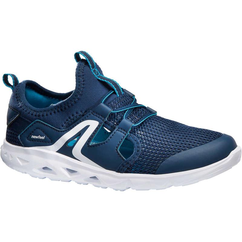 JUNIOR SPORT WALKING SHOES Hiking - PW 500 Fresh navy NEWFEEL - Outdoor Shoes