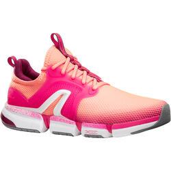 Damessneakers voor sportief wandelen PW 590 Xtense koraalrood/roze