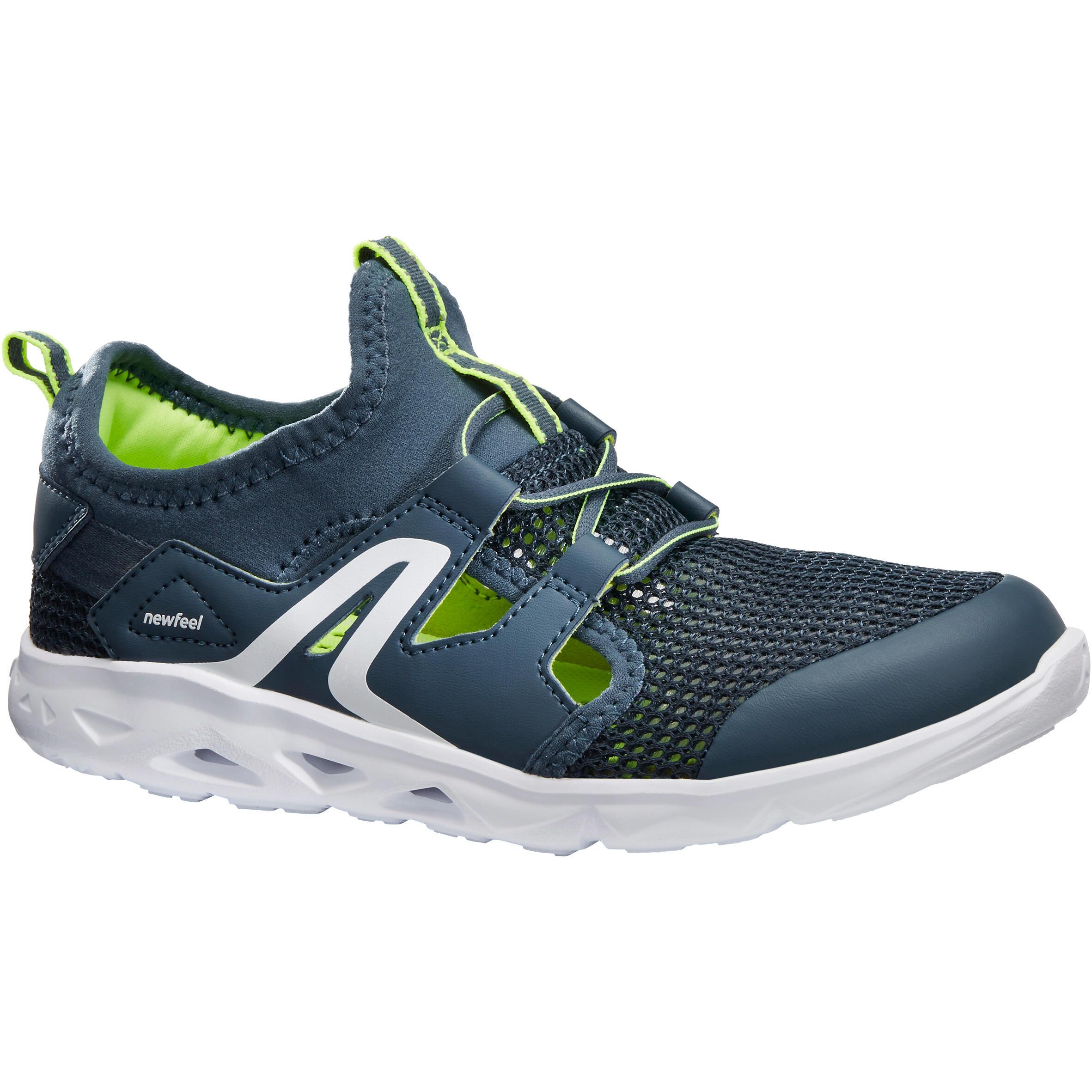 Newfeel Kindersneakers voor sportief wandelen PW 500 Fresh grijs / groen